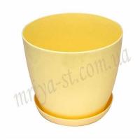 Горшок для цветов Ага с подставкой 14 желтый