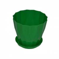 горшок для цветов карат с подставкой 13 зеленый