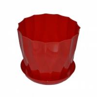 горшок для цветов карат с подставкой 16 красный