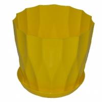 горшок для цветов карат с подставкой 19 желтый