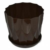 горшок для цветов карат с подставкой 19 коричневый