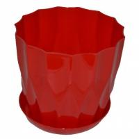 горшок для цветов карат с подставкой 19 красный