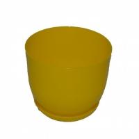 горшок для цветов класик с подставкой 13 желтый