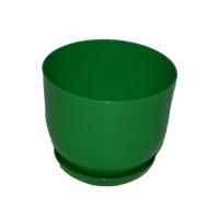 горшок для цветов класик с подставкой 13 зеленый