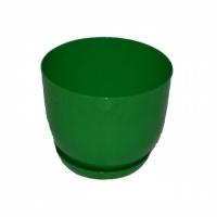 горшок для цветов класик с подставкой 16 зеленый