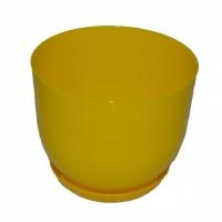 горшок для цветов класик с подставкой 19 желтый
