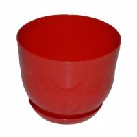 горшок для цветов класик с подставкой 19 красный