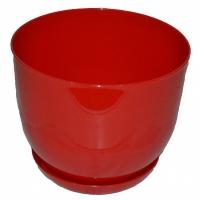 горшок для цветов класик с подставкой 22 красный