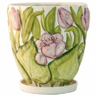 горшок для цветов  р124 с тюльпанами