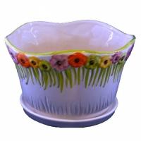 горшок для цветов  р206 с цветочками ср.