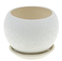 горшок для цветов шар 1,4л шелк белый