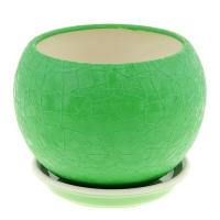 горшок для цветов шар 1,4л шелк зеленый